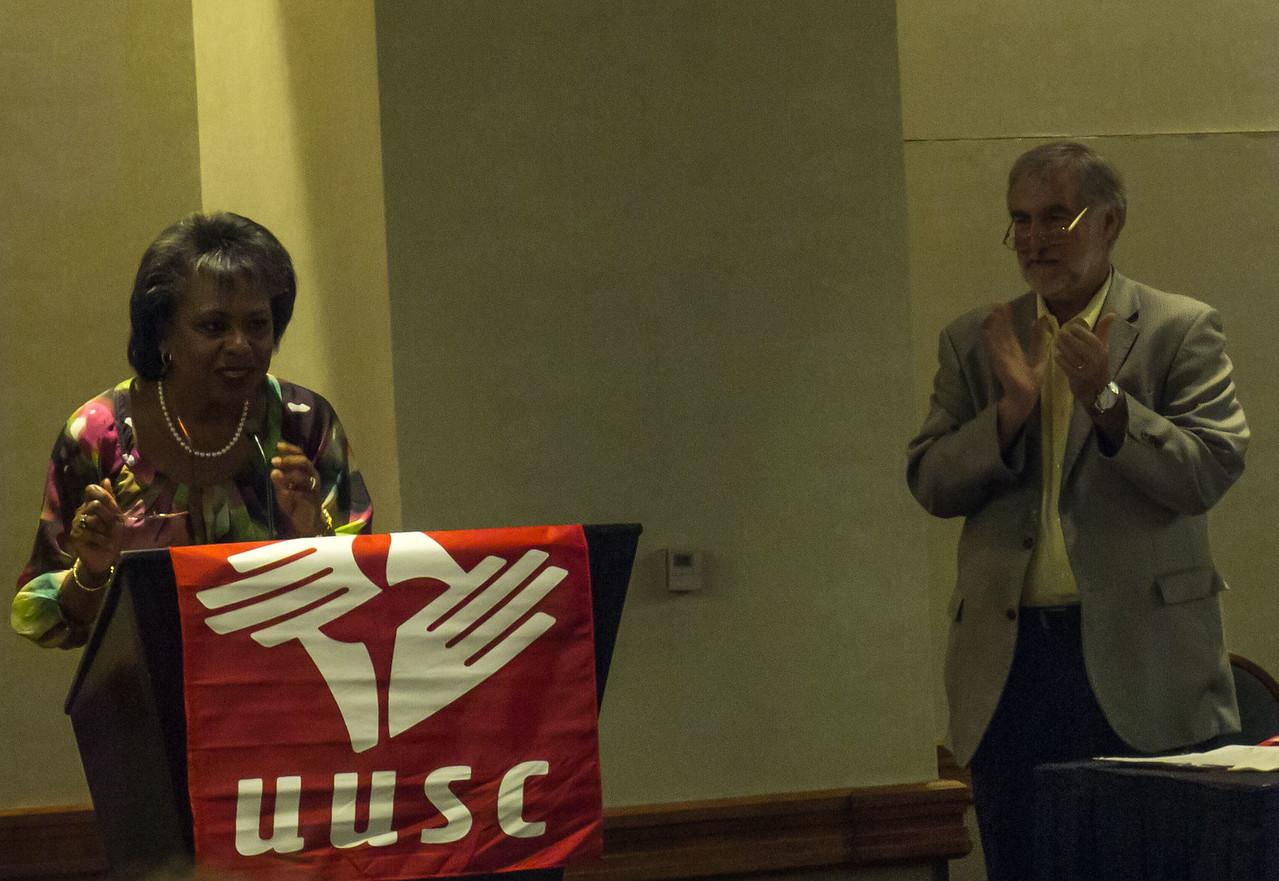 Anita Hill and William Schultz address UUSC audience