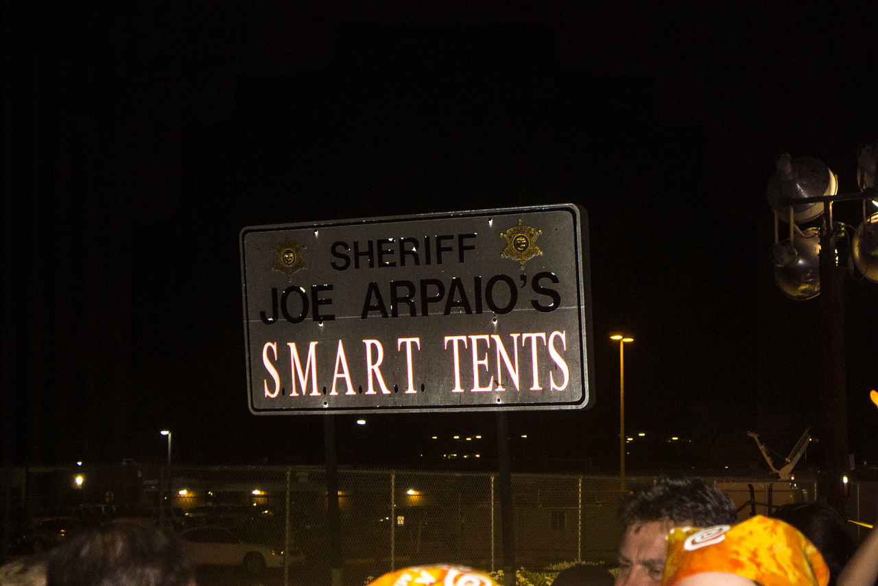 """Sign bragging about Sheriff Joe Arpaio's Tent City """"concentration camp"""" (term used by Sheriff Joe himself, in arrogant pride)."""