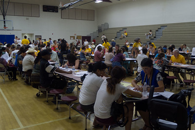 Citizenship Fair: UU volunteers assisting immigrants in filing papers to gain US Citizenship.