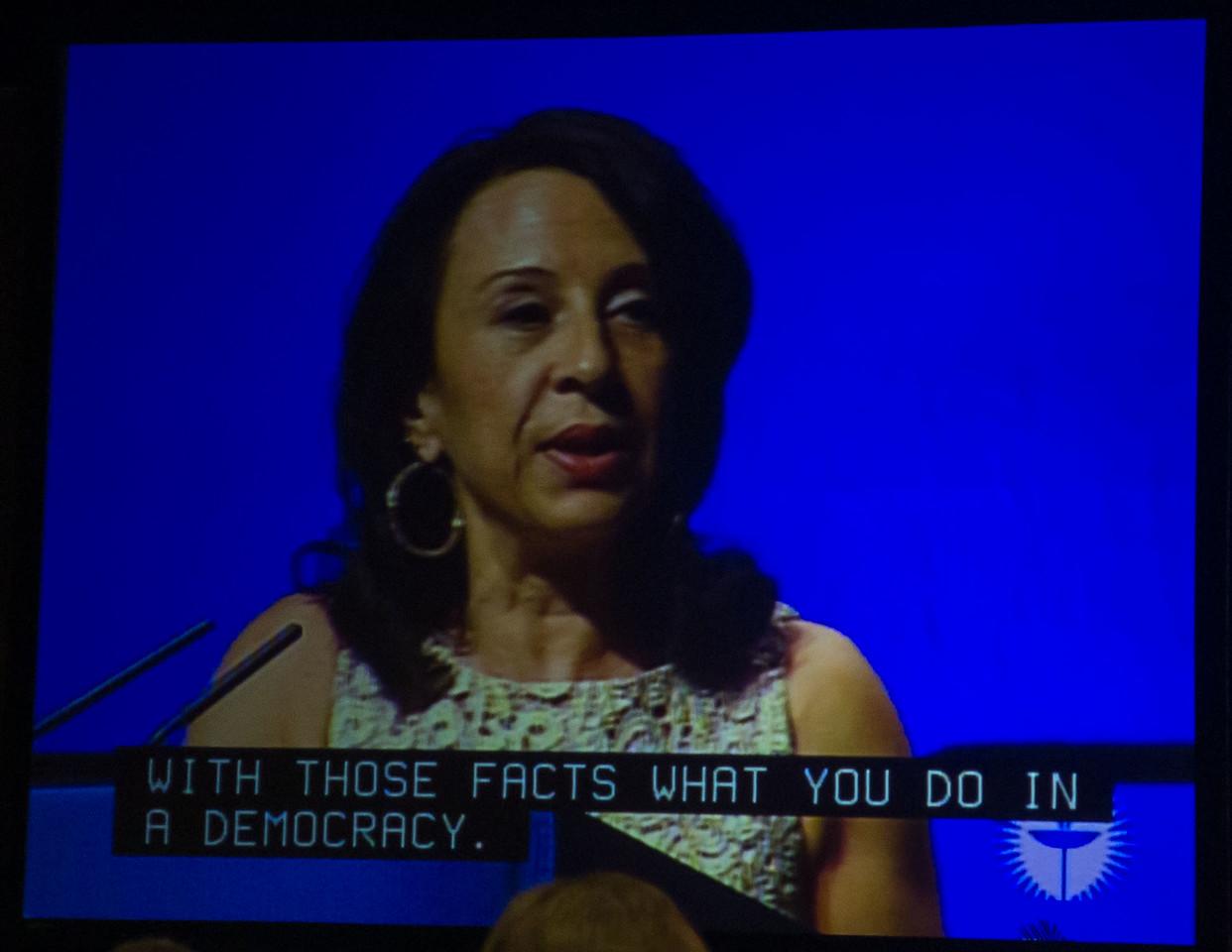 Maria Hinojosa delivering the 2012 Ware Lecture