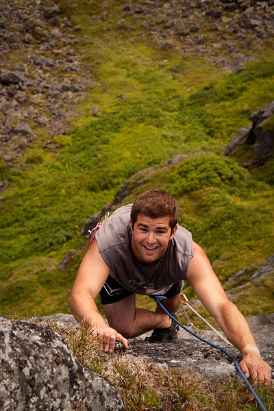 All smiles, Paul reaches the topout on <i>Pulp Culture 5.8</i> in Reed Valley.