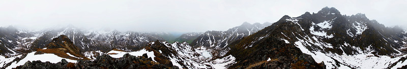 A 360-degree panorama from the top of a ridgeline overlooking Snowbird and Reed Valleys.