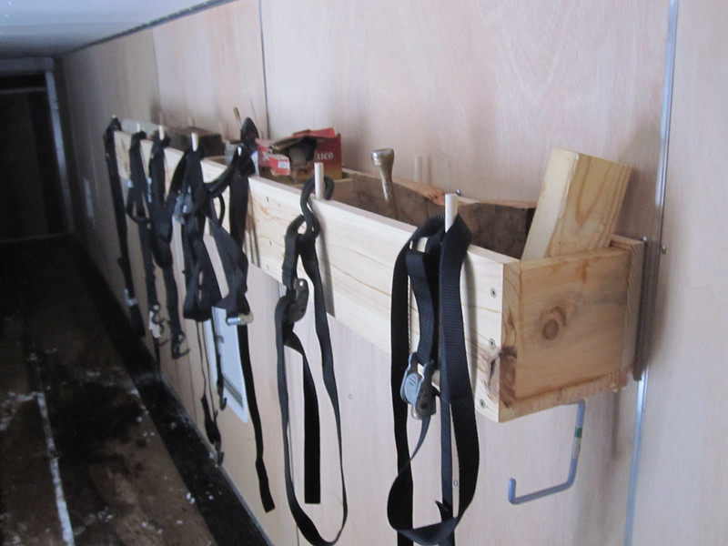 THE STORAGE RACKS WE INSTALLED IN MIKE'S SNOWMOBILE TRAILER...