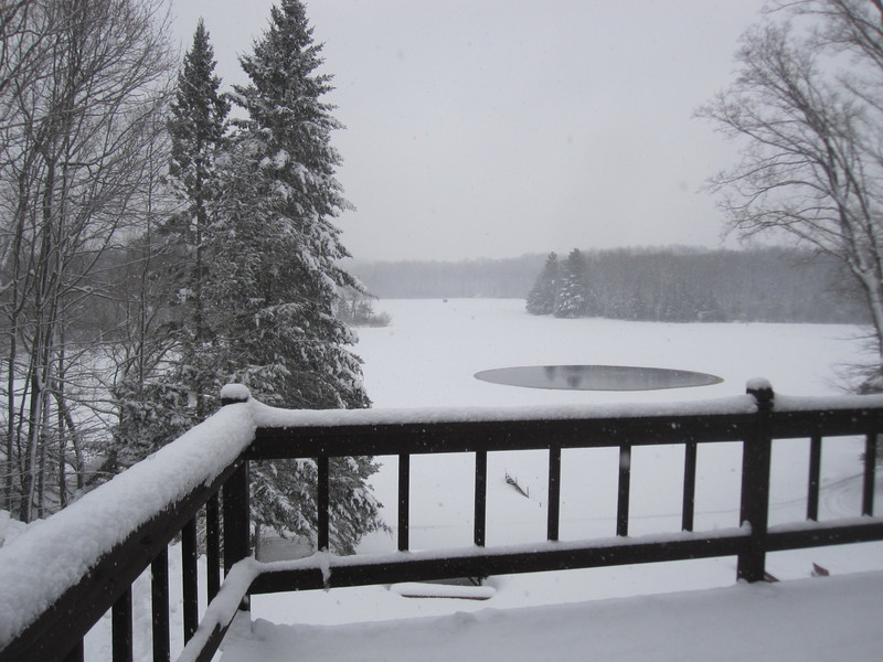 OK...AFTER THE U.P., I WENT TO THE CABIN FOR MORE SNOWMOBILING..COULDN'T RESIST THIS SHOT FROM THE CABIN...I THINK I HAVE TAKEN THIS SAME SHOT MANY TIMES, BUT IT ALWAYS PLEASURES ME...