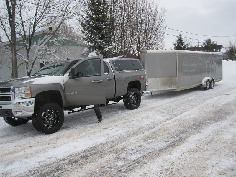 PAUL'S TRUCK & MIKE'S TRAILER...SO WE COULD ALL RIDE TOGETHER FROM ST GERMAIN TO MAAS CITY