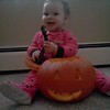 Saleena with a pumpkin.