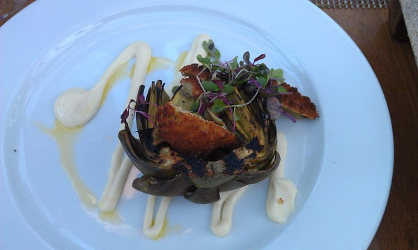 Fried artichoke hearts in grilled artichoke with lemon aioli