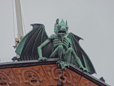 "Tallinn, Estonia - This ""devil"" sits at the roof peak of the town Theater."