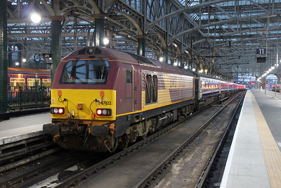 67022 at Glasgow Central having bought in the ecs sleeper stock.