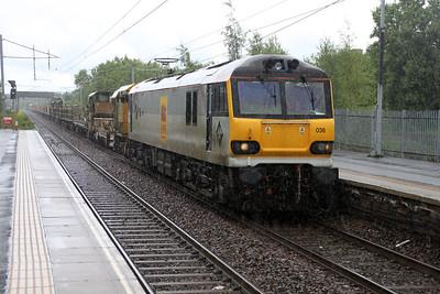 92036 1448/6s51 Carlisle-Mossend passes Holytown in the rain! 04/07/12.