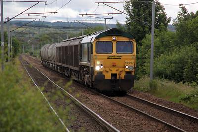66607 1005/6D62 Oxwellmains-Viewpark passes Bellshill 04/07/12.