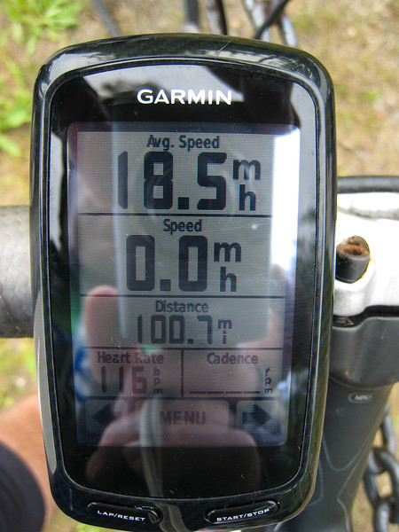 100+ miles at 18.5 mph!  5:25 for the century, by far my best time.