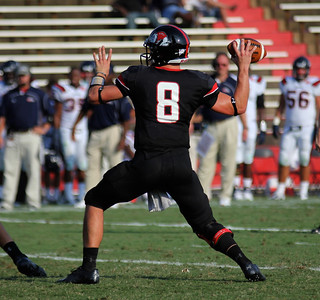 Lucas Beatty, 8, throws the ball for an attempted touchdown.