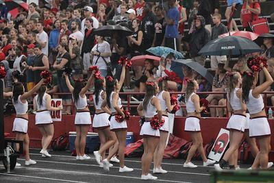 The Gardner-Webb cheerleaders get the crowd pumped during the rain on Saturday's season opener September 1, 2012