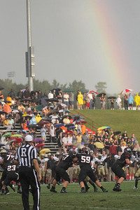 A very bright rainbow hovered the field during Saturday, September 1, 2012's open seasoner game against Wofford.