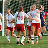Tribune-Star/Jim Avelis<br /> First goal: Terre Haute South's Makenzie Mauriello(11) gets congratulated on her goal late in the first half.