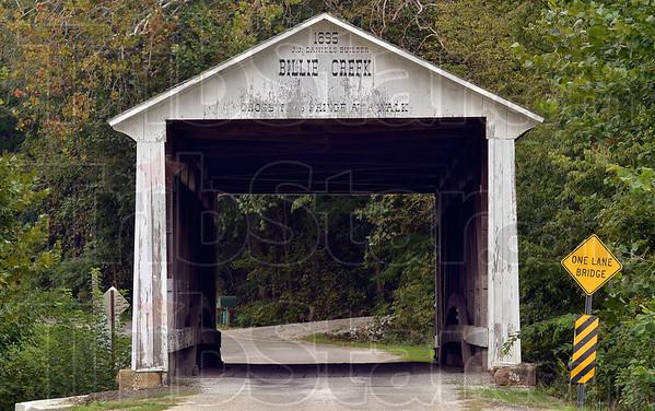 Tribune-Star/Joseph C. Garza<br /> History for sale: The sale of Billie Creek Village will include a historic covered bridge.