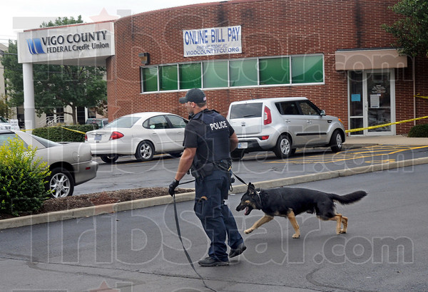 Track: Terre Haute police officer Ryan Adamson and his K-9 partner attempt to track a robbery suspect just after the Vigo County Federal Credit Union was robbed Friday afternoon.