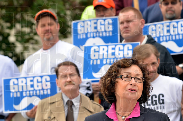 Tribune-Star/Joseph C. Garza<br /> Here's the plan: Indiana candidate for Lt. Governor Senator Vi Simpson discusses her and running mate John Gregg's plan for Indiana infrastructure during a press conference in front of the Vigo County Courthouse Friday.