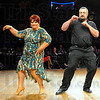 Tribune-Star/Jim Avelis<br /> Cha cha: Barbara Lamb and Mitch Stauffer cha cha across the dance floor at dancing With the Stars Friday night.