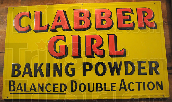 Sign of the time: CLABBER GIRL sign detail.