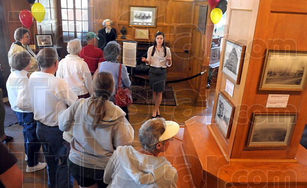 Tour: Megan Marvin conducts a tour of the Clabber Girl Museum celebrating the 120th year of operation Friday afternoon.