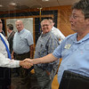 Tribune-Star/Jim Avelis<br /> Welcome: Mike Pence meets Harry Minniear, Chair of the Aviation Technology Department at Indiana State University. Pence was in Terre Haute Friday on his Jobs Tour.
