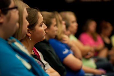 Sarah Covarrubias listens to Tom Bowen during Dimensions in the LYCC on September 11, 2011.