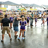 Line dancing: A large group of dancers perform from two lines during Saturday's annual Little Italy Festival.