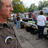Tribune-Star/Jim Avelis<br /> Watching: John Etling, director of the Catholic Charities Food Bank watches over the distribution of bread and produce Saturday morning. Etling is also one of the participants in the Hunger Challenge sponsored by the United Way.