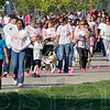 Tribune-Star/Joseph C. Garza<br /> Trail of support: Susan G. Komen Race for the Cure participants walk along the Indiana Mile at Memorial Stadium Saturday.