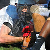 Tribune-Star/Jim Avelis<br /> Looking for the call: Terre Haute North workhorse running back Brother Scank looks to the officials as he got close to a touchdown.