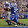 Tribune-Star/Joseph C. Garza<br /> Big stop: Drake running back T.J. James is stopped at the one yard line by Indiana State's Jacolby Washington during the Sycamores' win Saturday at Memorial Stadium.