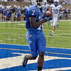 Tribune-Star/Joseph C. Garza<br /> Six for 7: Indiana State wide receiver Demory Lawshe catches a Mike Perish pass in the end zone to score for the Sycamores against Drake Saturday at Memorial Stadium.