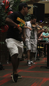 Gardner-Webb Sophomore Ethan Senger dances to Bulgarian hip-hop violinist Svet's performance in the Tucker Student Center on September 27.