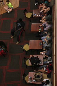 Gardner-Webb students watch Bulgarian hip-hop violinist Svet perform in the Tucker Student Center on September 27.