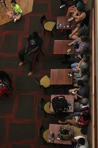Gardner-Webb students watch Bulgarian hip-hop violinist Svet perform in the Tucker Student Center on September 27.
