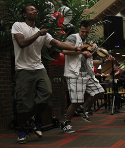 Gardner-Webb Junior Cory Palmer and Bulgarian hip-hop violinist Svet break it down together during Svet's performance in the Tucker Student Center on September 27.