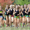 Tribune-Star/Jim Avelis<br /> The start: The start of the girl's county cross country race shows the pack dominated by Terre Haute North runners who eventually took the first eight spots at the finish line.