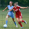 Tribune-Star/Jim Avelis<br /> Push comes to shove: St. Mary-of-the-Wood's mid-fielder Kylee White, a freshman from Camby Ind. contends with Rose-Hulman mid-fielder Haley Gilliam(21), a freshman from Zionsville Ind. The action came in the first half of their cross-county game Wednesday evening.