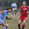 Tribune-Star/Jim Avelis<br /> Heads up play: Alajandra Tellez, a St. Mary-of-the-Woods freshman from Griffith Ind. heads the ball away from Rose-Hulman opponent Cassidy Cain a freshman from Noblesville Ind.