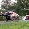 Lift-off: A Life Line helicopter prepares to lift-off with an injured victim of Sunday's crash in the eastbound lanes of I-70 just east of Exit 11. One person was confirmed dead in the incident. (AP Photo/Tribune-Star Bob Poynter)