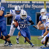 Tribune-Star/Joseph C. Garza<br /> ...and home of the guy who will run you over: Indiana State University running back Shakir Bell (22) takes advantage of a gap in the Drake defense during the team's win Sept. 15 at Memorial Stadium.