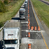 Tribune-Star/Joseph C. Garza<br /> One lane: Westbound traffic travels at about 45 miles per hour in one lane west of an exit for Brazil on I-70 Monday in Clay County.