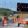 Tribune-Star/Joseph C. Garza<br /> Winter, Spring, Summer, Construction: East-bound traffic starts to file into a single line to accommodate for construction along I-70 Monday near the Clay-Vigo county line.