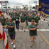Tribune-Star/Joseph C. Garza<br /> Over 100 years: Tony Callese and Joe Devers carry the flag and the union banner, respectively, as they and their fellow Carpenters Local 133 members march in the Labor Day parade Monday on Wabash Avenue. The union celebrated its 100th anniversary in 2007.