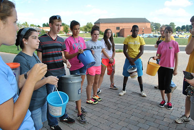 Students getting instructions before heading out on the water walk.