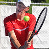 Tribune-Star/Jim Avelis<br /> On top: Nathan Bogle was the bright spot in the Terre Haute South lineup Tuesday evening, winning his #1 singles match over Terre Haute North's Tate Egan.