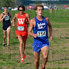 Tribune-Star/Joseph C. Garza<br /> Faster pace: Indiana State University cross country runner Milton Brinza runs in the Indiana Intercollegiate Cross Country meet Friday at the Lavern Gibson Championship course.
