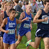 Tribune-Star/Joseph C. Garza<br /> In the front: Indiana State University's John Mascari runs at the front of the pack with fellow Sycamore, Al Escalera, during the Indiana Intercollegiate Cross Country meet Friday at the Lavern Gibson Championship course.